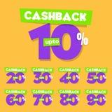 Conjunto completo el 10% al 90% de etiquetas de la venta del vector de Cashback stock de ilustración