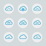 Conjunto computacional del icono de la nube Foto de archivo libre de regalías