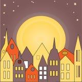 Conjunto constructivo Ciudad Puesta del sol Stock de ilustración