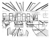 Conjunto coworking tirado mão Interiores modernos do escritório, espaço aberto espaço de trabalho com computadores, portáteis, il ilustração royalty free