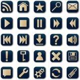 Conjunto cuadrado del botón de los iconos Fotografía de archivo