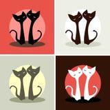 conjunto cuatro imágenes Dos gatos en amor Fotos de archivo