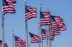 Conjunto das bandeiras americanas imagens de stock
