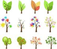 Conjunto de árboles Imágenes de archivo libres de regalías