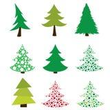 Conjunto de árboles de navidad Imagen de archivo