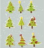 Conjunto de árboles de navidad en etiquetas engomadas Fotos de archivo libres de regalías