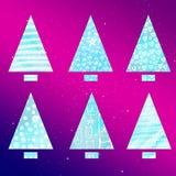 Conjunto de árboles de navidad estilizados Forma simple Triángulo y rectángulo Fotos de archivo libres de regalías