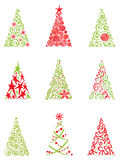Conjunto de árboles de navidad modernos Imagenes de archivo