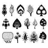 Conjunto de árboles decorativos Imagen de archivo libre de regalías