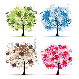Conjunto de árboles florales hermosos para su diseño Imagen de archivo libre de regalías