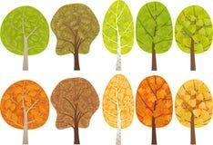 Conjunto de árboles frondosos Imagen de archivo