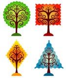 Conjunto de árboles geométricos. Fotografía de archivo