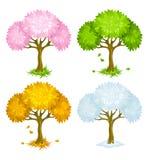 Conjunto de árboles a partir de diversas estaciones ilustración del vector