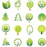 Conjunto de árboles y de la hoja. ilustración del vector
