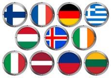 Conjunto de 11 indicadores en el metal redondo Marco-Europa 2 stock de ilustración