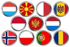 Conjunto de 11 indicadores en el metal redondo Marco-Europa 3 ilustración del vector