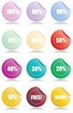 Conjunto de 12 etiquetas brillantes de las ventas Libre Illustration