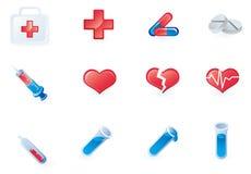 Conjunto de 12 iconos médicos Foto de archivo