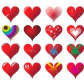 Conjunto de 16 corazones Foto de archivo