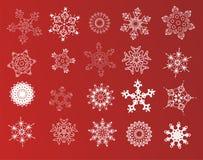 Conjunto de 20 copos de nieve Imágenes de archivo libres de regalías