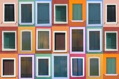 Conjunto de 21 ventanas viejas del color Imágenes de archivo libres de regalías