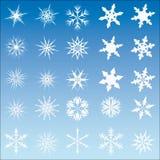 Conjunto de 25 escamas de la nieve del vector Fotografía de archivo