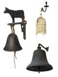 Conjunto de 3 alarmas con los caminos de recortes. Imagen de archivo libre de regalías