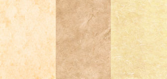 Conjunto de 3 texturas del pergamino Fotos de archivo