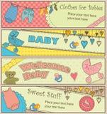 Conjunto de 4 banderas temáticas del bebé horizontal Fotos de archivo