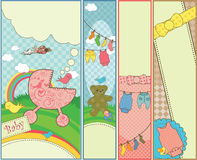 Conjunto de 4 banderas temáticas del bebé vertical Fotografía de archivo libre de regalías
