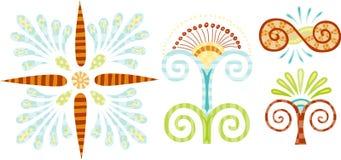 Conjunto de 4 elementos del diseño de la historieta Imagen de archivo libre de regalías