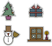 Conjunto de 4 etiquetas engomadas de la Navidad Foto de archivo libre de regalías