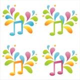 Conjunto de 4 notas musicales Foto de archivo
