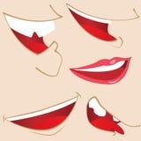 Conjunto de 5 bocas de la historieta. Fotos de archivo