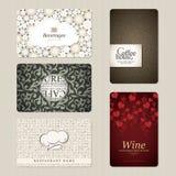 Conjunto de 5 tarjetas de visita verticales Imágenes de archivo libres de regalías