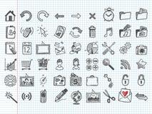 Conjunto de 54 iconos del doodle stock de ilustración