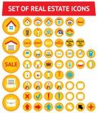 Conjunto de 56 iconos de las propiedades inmobiliarias Imágenes de archivo libres de regalías