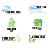 Conjunto de 6 iconos de las propiedades inmobiliarias y ele constructivos del diseño stock de ilustración