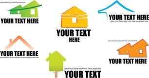 Conjunto de 6 iconos y diseños constructivos e de las propiedades inmobiliarias