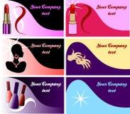 Conjunto de 6 tarjetas de visita de la belleza Imagen de archivo libre de regalías