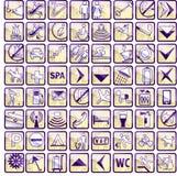 Conjunto de 64 iconos con estilo del hotel Fotos de archivo
