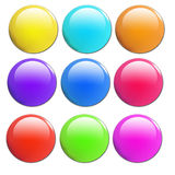 Conjunto de 9 botones brillantes stock de ilustración