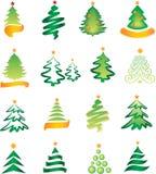 Conjunto de abetos de la Navidad Fotos de archivo libres de regalías