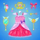 Conjunto de accesorios de la princesa foto de archivo libre de regalías