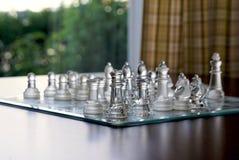 Conjunto de ajedrez de cristal Imagenes de archivo