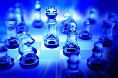 Conjunto de ajedrez en azul Fotos de archivo libres de regalías