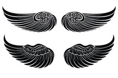 Conjunto de alas. Elementos del diseño del tatuaje Imágenes de archivo libres de regalías