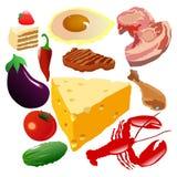 Conjunto de alimento Foto de archivo libre de regalías