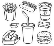 Conjunto de alimentos de preparación rápida Fotografía de archivo libre de regalías