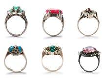 Conjunto de anillos de la joyería Imagenes de archivo